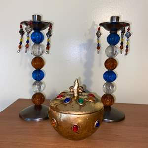 Lot # 708 Colorful Home Decor (candle holders & jar)