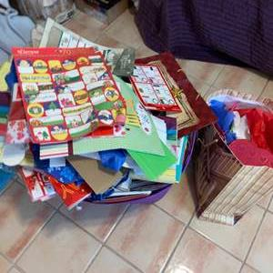 Lot # 736 Large Box of Gift Bags, Tissue Paper & More