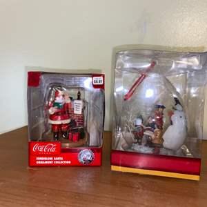 Lot # 737 New Coca-Cola Santa Ornament & Snowman Ornament