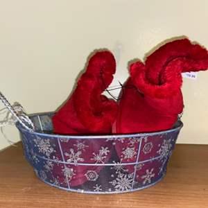 Lot # 740 Large Red Booties & Metal Basket