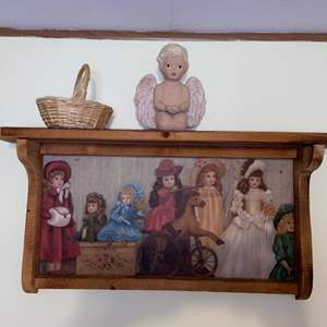 Lot # 747 Wood Shelf Adorned with Doll Pictures