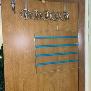 Lot # 749 Over the Door Hooks & Pants Rack
