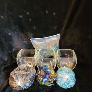 Lot # 777 Assorted Decorative Stones w/ Glass Jars