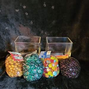 Lot # 778 Assorted Decorative Stones w/ Glass Jars
