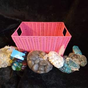 Lot # 779 Assorted Decorative Stones w/ Basket