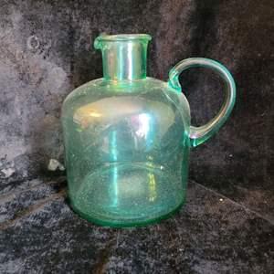 Lot # 787 Vintage Green Glass Jug