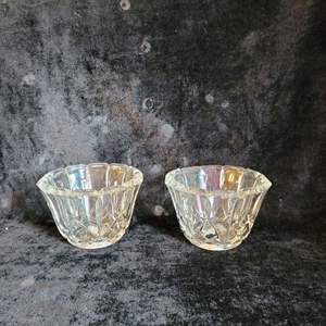 Lot # 790 (2) Heavy Glass Candle Covers