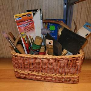 Lot # 797 Painting Supplies & Basket