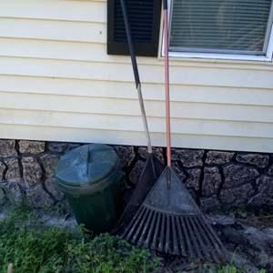 Lot # 804 Trash Can & Rakes