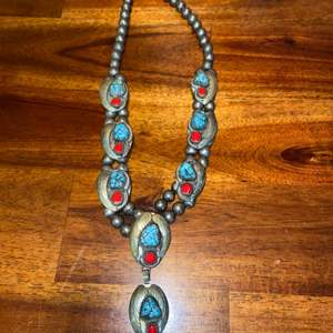 Lot # 866 Stunning Silver Necklace w/ Turquoise & Coral (unknown silver content)
