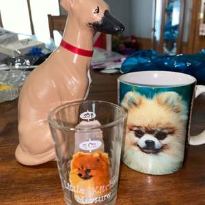 Lot # 898 Greyhound Figurine & Doggy Cups