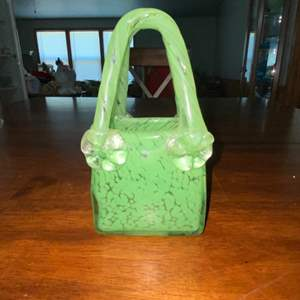 Lot # 932 Green Glass Purse Decor Piece