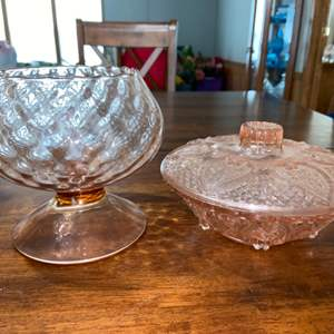 Lot # 937 (2) Vintage Glass Candy Dishes