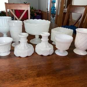 Lot # 944 White Glassware