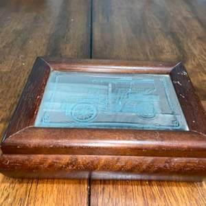 Lot # 978 Wood & Etched Glass Jewelry Box