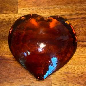 Lot # 987 Beautiful Amber Heart Paperweight