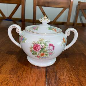 Lot # 990 Aichi Made in Occupied Japan China Floral Bouquet Covered Sugar Bowl