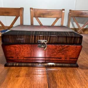 """Lot # 1037 Beautiful Lacquered Wood Jewelry Box 12"""""""