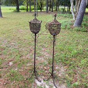 Lot # 1043 Pair of Pretty Ornate Outdoor Candle Holder Stands