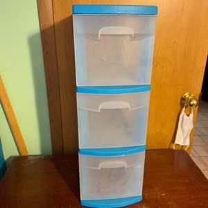 Lot # 1061 Blue Sterlite 3 Drawer Storage