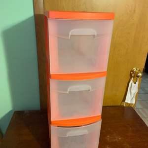 Lot # 1066 Orange Sterlite 3 Drawer Storage