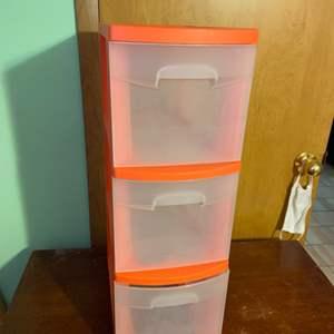 Lot # 1067 Orange Sterlite 3 Drawer Storage