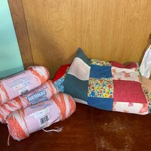 Lot # 1069 Vintage Crib Quilt & Yarn