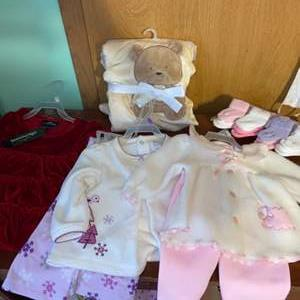 Lot # 1073 New Baby Outfits & Blanket