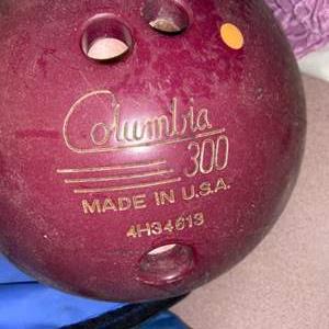 Lot # 1084 Set of 2 Vintage Bowling Balls, Carrying Bag & Wrist Support