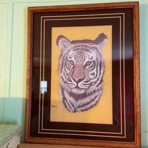 Lot # 1107 Tiger Artwork Signed M. Brice