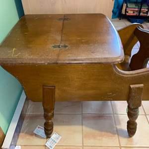 Lot # 1112 Vintage Side Table w/ storage