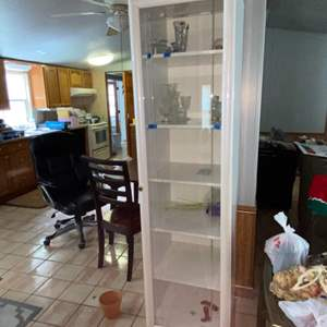 Lot # 1147 White Display Cabinet (contents not included)