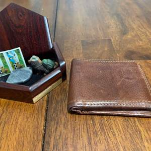 Lot # 1184 Wood Trinket Box, Leather Wallet & More