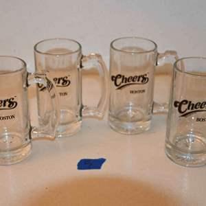 Lot # 5 CHEERS Boston glass beer mugs