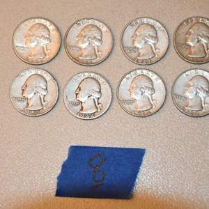 Lot # 8 Eight 90% silver Washington quarters