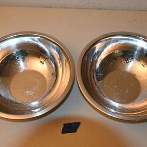 """Lot # 18 Two 9"""" stainless steel restaurant mixing bowls"""