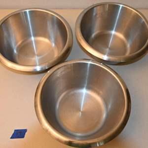"""Lot # 19 Three 8-1/2"""" flat bottom MATFER mixing bowls"""