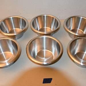 """Lot # 20 Six 6-1/4"""" flat bottom MATFER mixing bowls"""