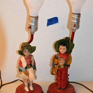 Lot # 33 Mid century cowgirl & cowboy lamps