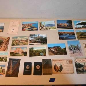 Lot # 37 Vintage postcards, union due books, misc...
