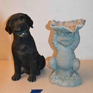 Lot # 42 DOG & FROG resin yard art