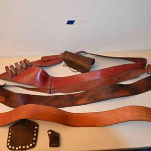 Lot # 59 Leather belts old & new, misc...