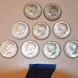 Lot # 64 Nine KENNEDY 40% silver half dollars