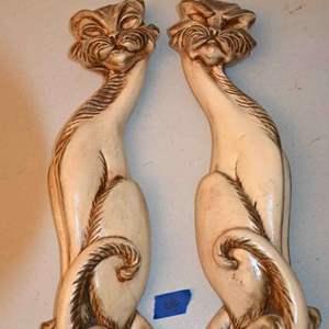 Lot # 66 Retro Siamese style cat ceramic wall hangings