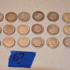 Lot # 67 Eighteen ROOSEVELT 90% silver dimes lot