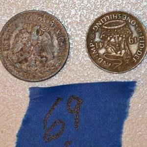 Lot # 69 1939 50 Centavos Mexican silver coin & 1941 English silver shilling coin