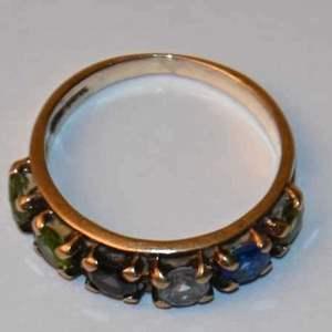 Lot # 87 10K yellow gold 6 birthstones size 6+ ring 2.6g