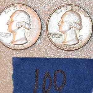 Lot # 100 Four WASHINGTON 90% silver quarters