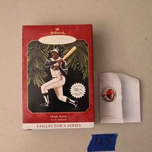 Lot # 123 Milwaukee BRAVES pin & Hallmark Keepsakes HANK AARON Christmas ornament & card