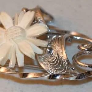 Lot # 142 Sterling silver & carved bone brooch pin 4.7g